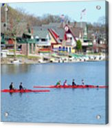 Rowing Along The Schuylkill River Acrylic Print by Bill Cannon