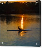 Rowing At Sunset 2 Acrylic Print by Bill Cannon