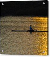 Rowing At Sunset Acrylic Print by Bill Cannon