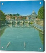 Rowing On The Tiber Rome Acrylic Print by Richard Harpum