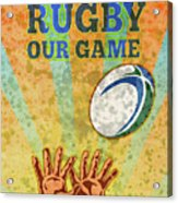 Rugby Player Hands Catching Ball Acrylic Print by Aloysius Patrimonio