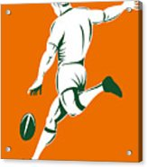 Rugby Player Kicking Acrylic Print by Aloysius Patrimonio