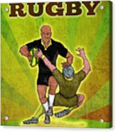 Rugby Player Running Attacking With Ball Acrylic Print by Aloysius Patrimonio