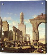 Ruins Of The Mosque Of The Caliph El Haken In Cairo Acrylic Print by Prosper Georges Antoine Marilhat