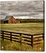 Rural Tennessee Red Barn Acrylic Print by Cheryl Davis