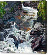 Rushing Waters Acrylic Print by John Lautermilch