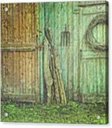 Rustic Barn Doors With Grunge Texture Acrylic Print by Sandra Cunningham