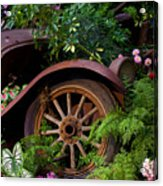 Rusty Truck In The Garden Acrylic Print by Garry Gay
