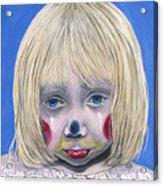 Sad Little Girl Clown Acrylic Print by Patty Vicknair