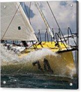 Sailboat Le Pingouin Open 60 Charging  Acrylic Print by Dustin K Ryan