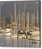 Sailboats Docked In The Santa Barbara Acrylic Print by Rich Reid