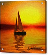 Sailing At Sunset Acrylic Print by Anthony Caruso