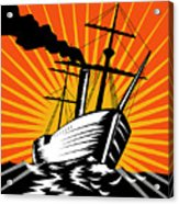 Sailing Ship Retro Woodcut Acrylic Print by Aloysius Patrimonio