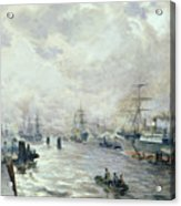 Sailing Ships In The Port Of Hamburg Acrylic Print by Carl Rodeck