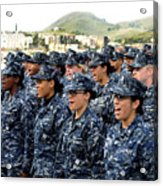 Sailors Yell Before An All-hands Call Acrylic Print by Stocktrek Images