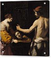 Salome Receiving The Head Of St John The Baptist Acrylic Print by Giovanni Francesco Barbieri