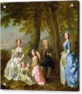 Samuel Richardson Seated With His Family Acrylic Print by Francis Hayman