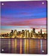San Francisco Sunset Acrylic Print by Photo by Alex Zyuzikov