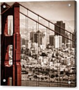 San Francisco Through The Bridge Acrylic Print by Matt  Trimble