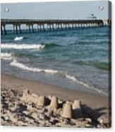 Sand Castles And Piers Acrylic Print by Rob Hans