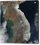 Satellite View Of Snowfall Along South Acrylic Print by Stocktrek Images
