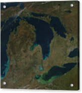 Satellite View Of The Great Lakes, Usa Acrylic Print by Stocktrek Images
