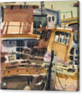 Sausalito House Boats Acrylic Print by Donald Maier