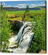 Scenic White River Falls Acrylic Print by Connie Cooper-Edwards