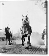 Seabiscuit Acrossing The Finish Line Acrylic Print by Everett