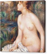 Seated Female Nude Acrylic Print by Renoir