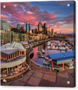 Seattle Waterfront At Sunset Acrylic Print by Photo by David R irons Jr