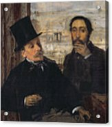 Self Portrait With Evariste De Valernes Acrylic Print by Edgar Degas