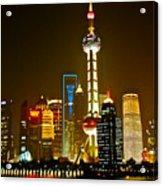 Shanghai By Night Acrylic Print by Dorota Nowak