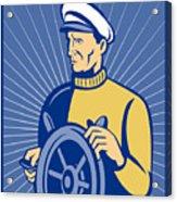 Ship Captain At The Helm  Acrylic Print by Aloysius Patrimonio