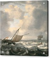 Ships On A Choppy Sea Acrylic Print by Hendrik van Anthonissen