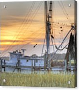 Shrimp Boat Sunset Charleston Sc Acrylic Print by Dustin K Ryan
