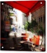 Sidewalk Cafe In Red Acrylic Print by Wayne Archer