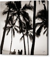 Silhouetted Surfers - Sep Acrylic Print by Dana Edmunds - Printscapes