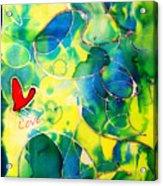 Silk Painting With A Heart  Acrylic Print by Alexandra Jordankova