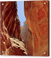 Siq Path Slot Canyon Petra Acrylic Print by Paul Cowan
