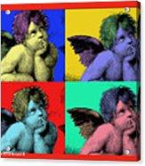 Sisteen Chapel Cherub Angels After Michelangelo After Warhol Robert R Splashy Art Pop Art Prints Acrylic Print by Robert R Splashy Art