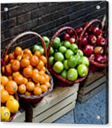 Six Baskets Of Assorted Fresh Fruit Acrylic Print by Todd Gipstein