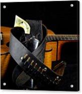 Six Gun And Guitar On Black Acrylic Print by M K  Miller