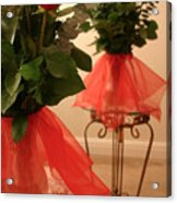 Skirted Roses In Mirror Acrylic Print by Kristin Elmquist