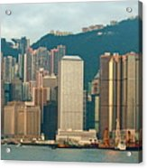 Skyline From Kowloon With Victoria Peak In The Background In Hong Kong Acrylic Print by Sami Sarkis