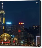 Skyline Illuminated At Night From Kowloon Acrylic Print by Sami Sarkis