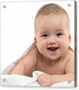 Smiling Four Month Old Baby Boy Acrylic Print by Oleksiy Maksymenko