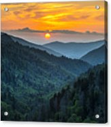 Smoky Mountains Sunset - Great Smoky Mountains Gatlinburg Tn Acrylic Print by Dave Allen