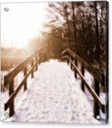 Snowy Bridge Acrylic Print by Wim Lanclus