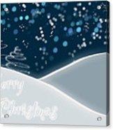 Snowy Night Christmas Card Acrylic Print by Lisa Knechtel